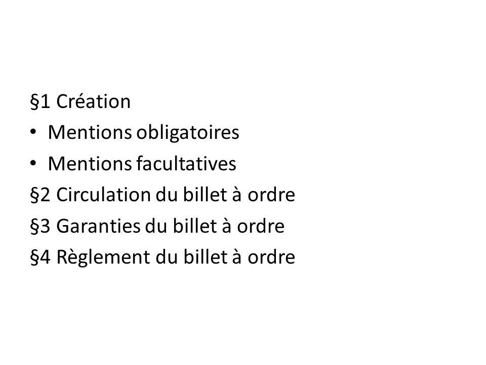 §1 Création Mentions obligatoires Mentions facultatives §2 Circulation du billet à ordre §3 Garanties du billet à ordre §4 Règlement du billet à ordre
