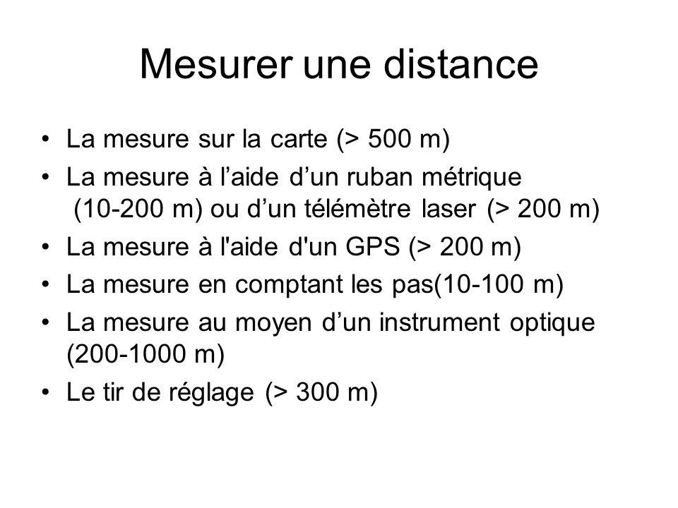 Mesurer une distance La mesure sur la carte (> 500 m) La mesure à laide dun ruban métrique (10-200 m) ou dun télémètre laser (> 200 m) La mesure à l'a