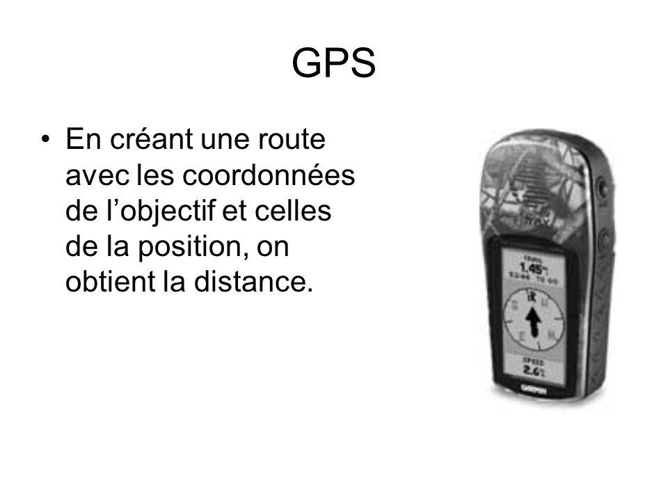 GPS En créant une route avec les coordonnées de lobjectif et celles de la position, on obtient la distance.