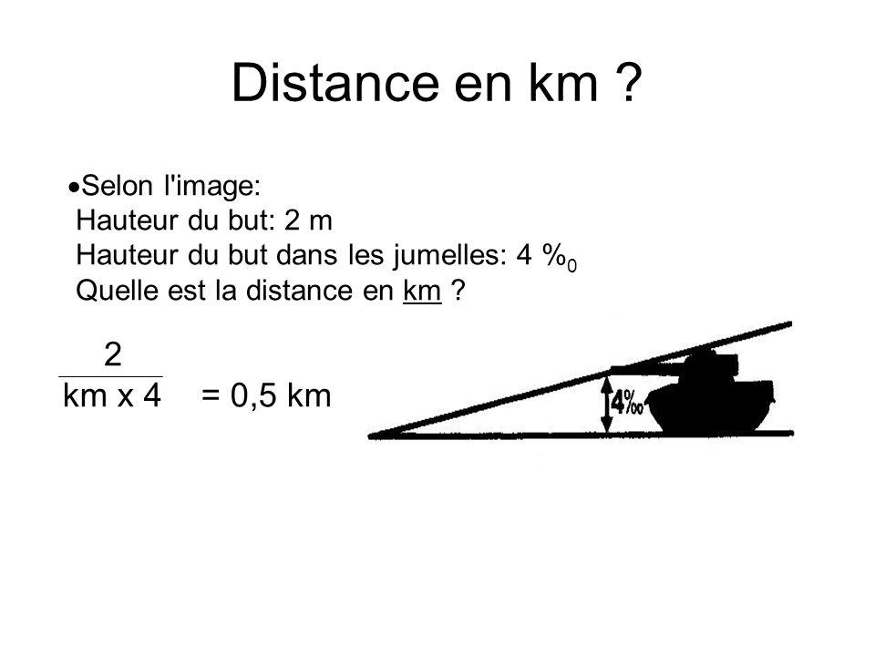 Selon l image: Distance: 0,2 km Hauteur du but dans les jumelles: 15 % o Quelle est la taille en m .