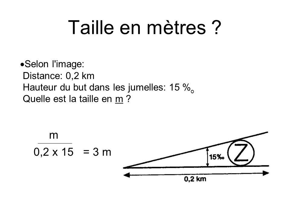 Selon l'image: Distance: 0,2 km Hauteur du but dans les jumelles: 15 % o Quelle est la taille en m ? m 0,2 x 15 = 3 m Taille en mètres ?