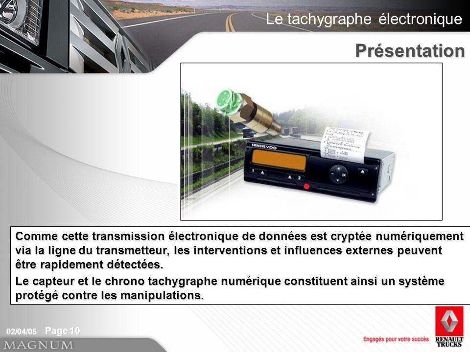 Le tachygraphe électronique 02/04/05 Page 10 A partir de ces impulsions de mesure, le chrono tachygraphe numérique détermine la vitesse et la distance