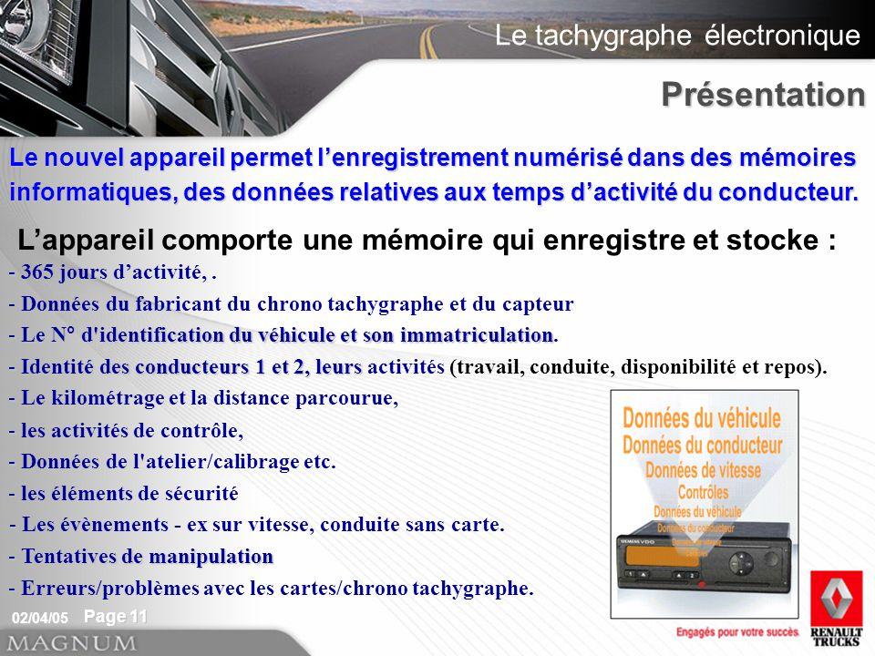 Le tachygraphe électronique 02/04/05 Page 11 Le nouvel appareil permet lenregistrement numérisé dans des mémoires informatiques, des données relatives aux temps dactivité du conducteur.