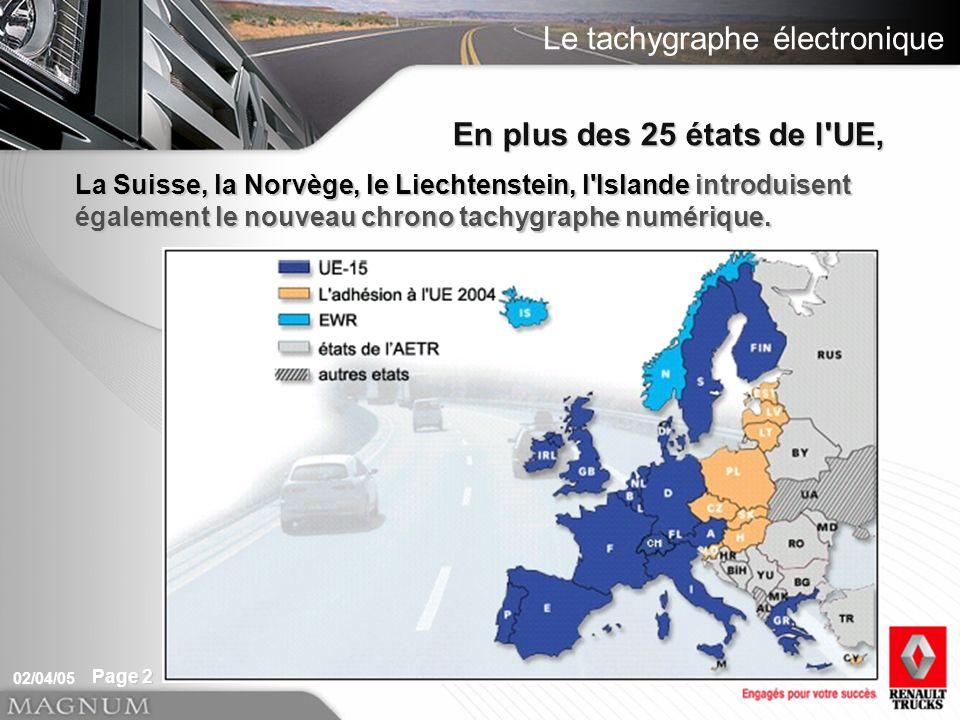 Le tachygraphe électronique 02/04/05 Page 2 En plus des 25 états de l UE, La Suisse, la Norvège, le Liechtenstein, l Islande introduisent également le nouveau chrono tachygraphe numérique.