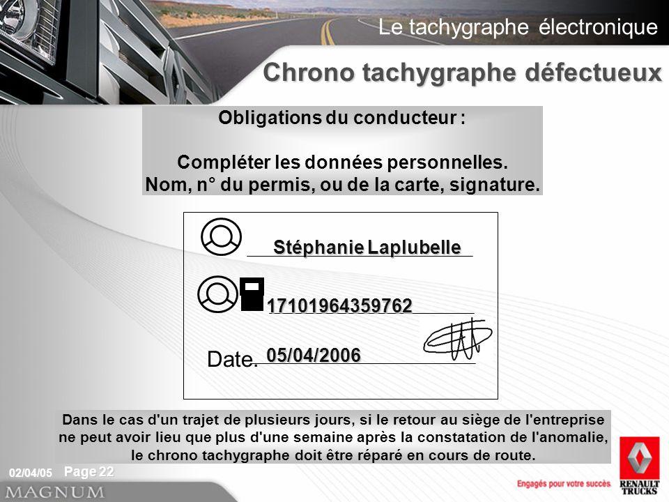 Le tachygraphe électronique 02/04/05 Page 22 Chrono tachygraphe défectueux Obligations du conducteur : Compléter les données personnelles. Nom, n° du