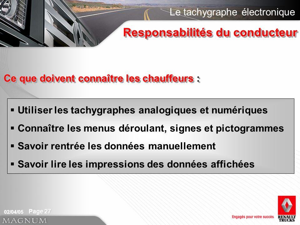 Le tachygraphe électronique 02/04/05 Page 27 Responsabilités du conducteur Utiliser les tachygraphes analogiques et numériques Connaître les menus dér