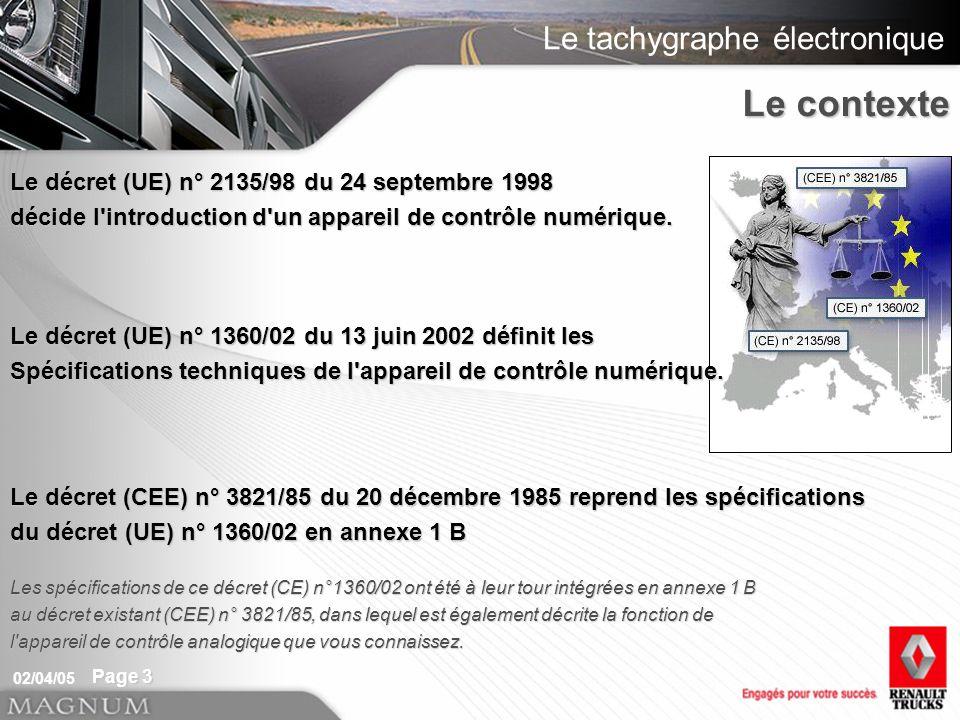 Le tachygraphe électronique 02/04/05 Page 3 Le décret (UE) n° 2135/98 du 24 septembre 1998 décide l introduction d un appareil de contrôle numérique.