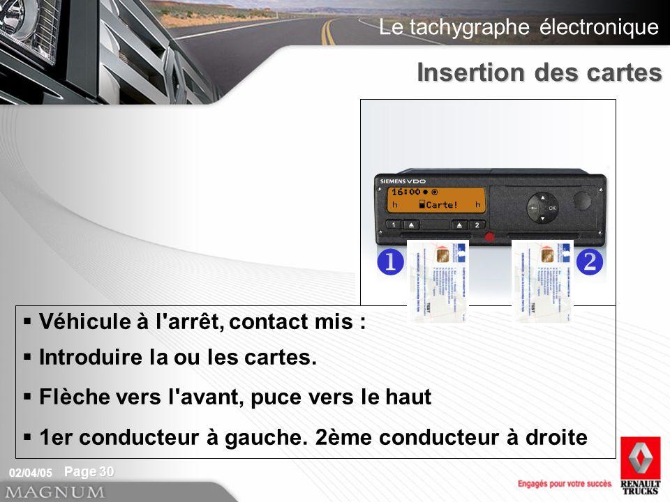 Le tachygraphe électronique 02/04/05 Page 30 Véhicule à l'arrêt, contact mis : Introduire la ou les cartes. Flèche vers l'avant, puce vers le haut 1er
