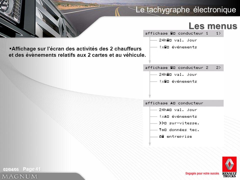 Le tachygraphe électronique 02/04/05 Page 41 Affichage sur l écran des activités des 2 chauffeurs et des évènements relatifs aux 2 cartes et au véhicule.