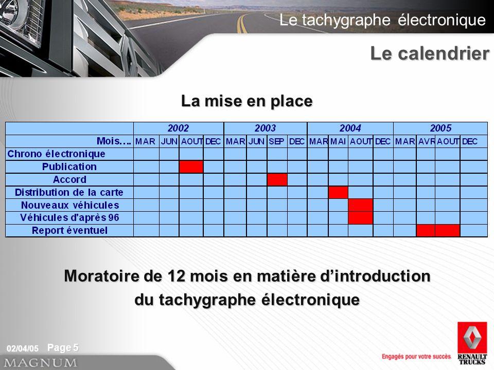 Le tachygraphe électronique 02/04/05 Page 5 Moratoire de 12 mois en matière dintroduction du tachygraphe électronique La mise en place Le calendrier