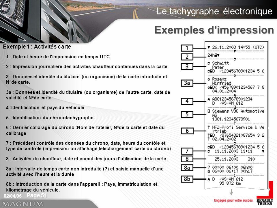 Le tachygraphe électronique 02/04/05 Page 51 1 : Date et heure de l impression en temps UTC 2 : Impression journalière des activités chauffeur contenues dans la carte.