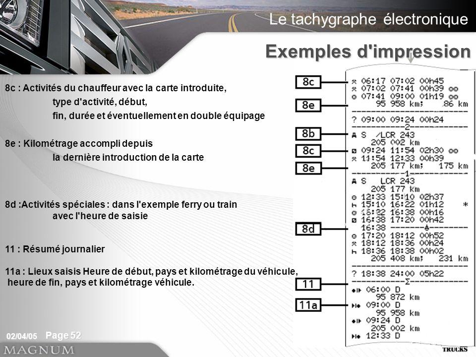 Le tachygraphe électronique 02/04/05 Page 52 Exemples d'impression 8c : Activités du chauffeur avec la carte introduite, type d'activité, début, fin,
