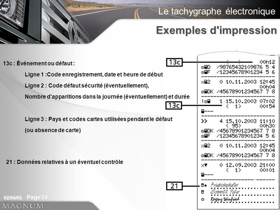 Le tachygraphe électronique 02/04/05 Page 54 13c : Événement ou défaut : Ligne 1 :Code enregistrement, date et heure de début Ligne 2 : Code défaut sé
