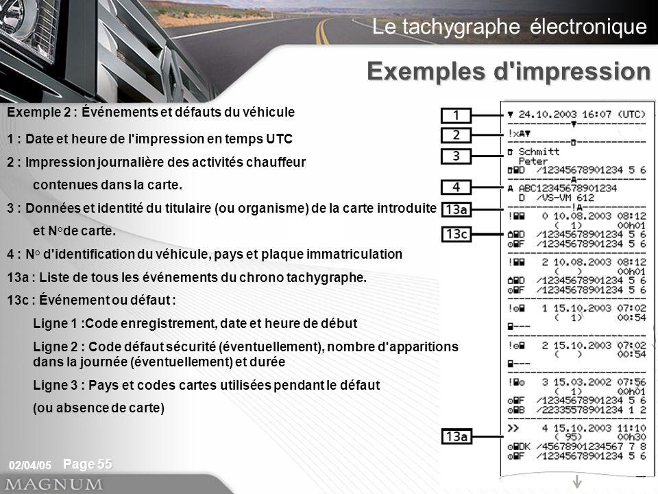 Le tachygraphe électronique 02/04/05 Page 55 1 : Date et heure de l impression en temps UTC 2 : Impression journalière des activités chauffeur contenues dans la carte.