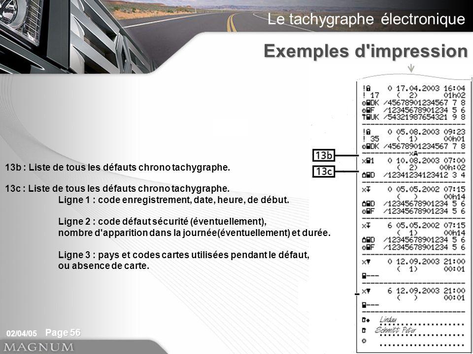 Le tachygraphe électronique 02/04/05 Page 56 13b : Liste de tous les défauts chrono tachygraphe. Exemples d'impression 13c : Liste de tous les défauts