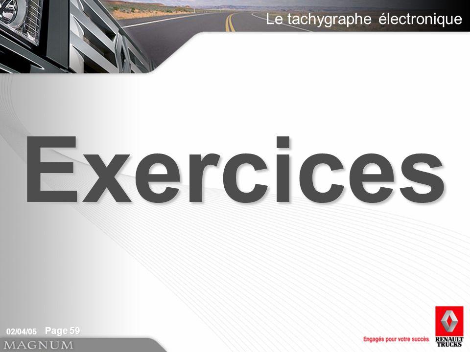 Le tachygraphe électronique 02/04/05 Page 59 Exercices
