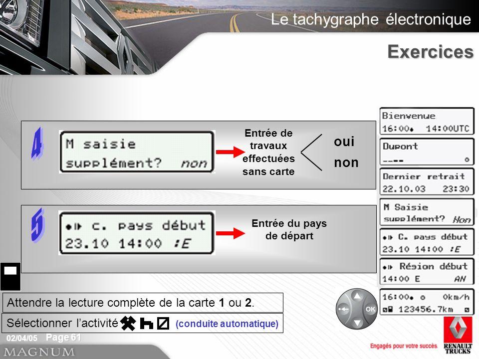 Le tachygraphe électronique 02/04/05 Page 61 Entrée de travaux effectuées sans carte oui Entrée du pays de départ Attendre la lecture complète de la c
