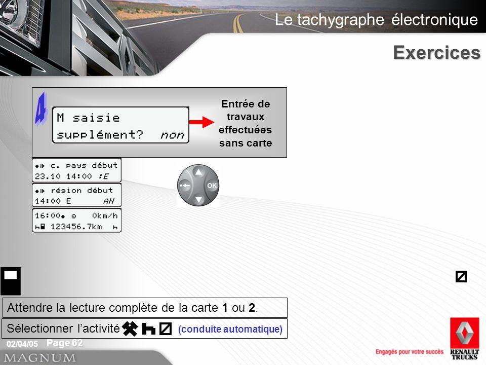 Le tachygraphe électronique 02/04/05 Page 62 Entrée de travaux effectuées sans carteExercices Attendre la lecture complète de la carte 1 ou 2. Sélecti