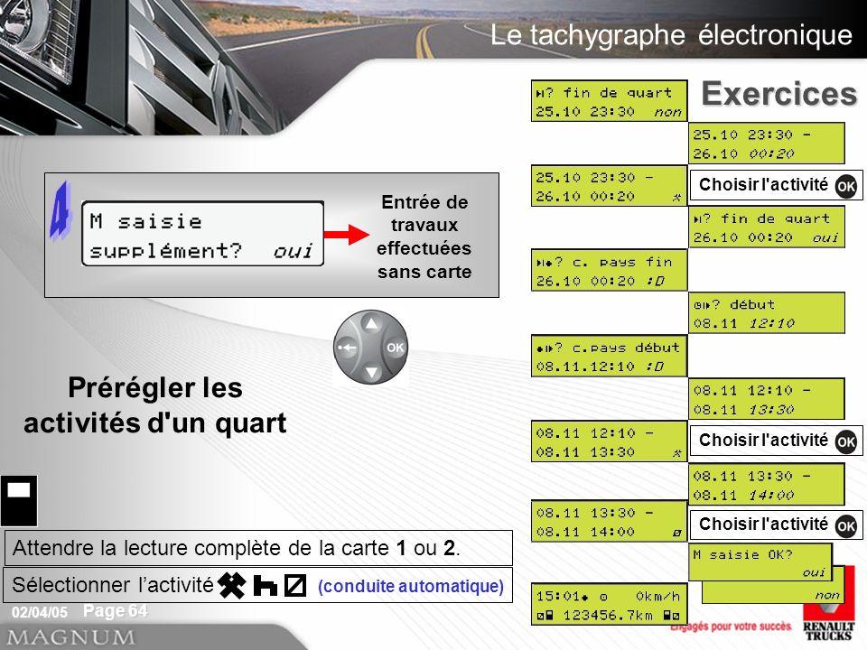 Le tachygraphe électronique 02/04/05 Page 64 Exercices Entrée de travaux effectuées sans carte Choisir l activité Attendre la lecture complète de la carte 1 ou 2.