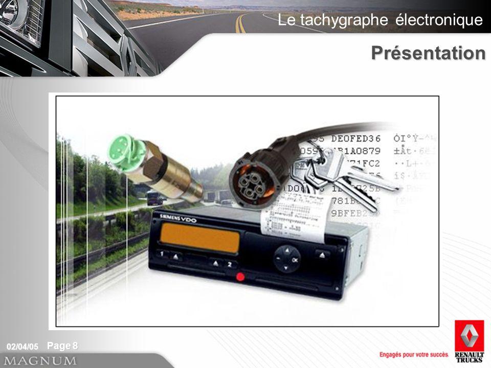 Le tachygraphe électronique 02/04/05 Page 8 Présentation