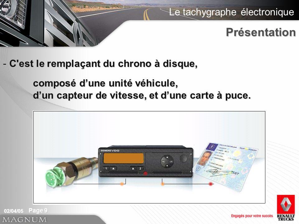 Le tachygraphe électronique 02/04/05 Page 9 - C'est le remplaçant du chrono à disque, composé dune unité véhicule, dun capteur de vitesse, et dune car
