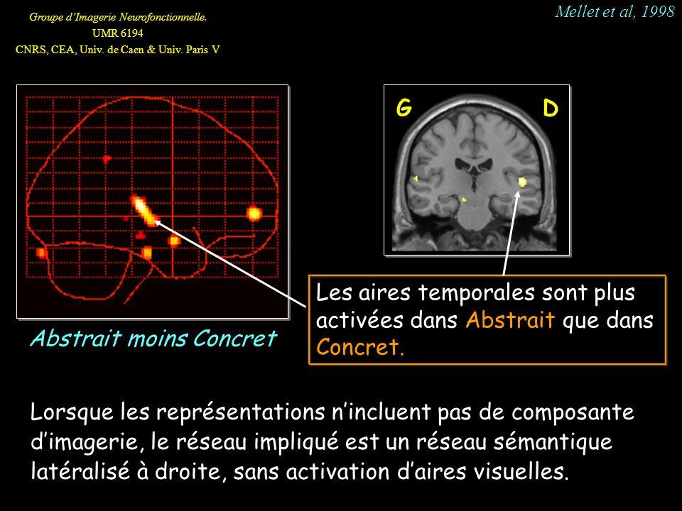 Groupe dImagerie Neurofonctionnelle. UMR 6194 CNRS, CEA, Univ. de Caen & Univ. Paris V Les aires temporales sont plus activées dans Abstrait que dans