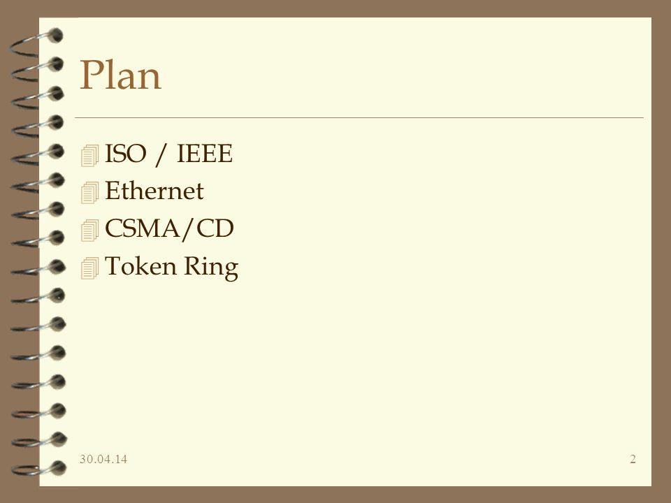 30.04.142 Plan 4 ISO / IEEE 4 Ethernet 4 CSMA/CD 4 Token Ring