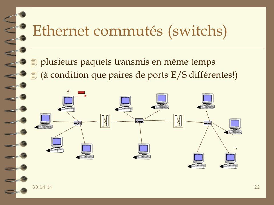 30.04.1422 Ethernet commutés (switchs) 4 plusieurs paquets transmis en même temps 4 (à condition que paires de ports E/S différentes!) S D