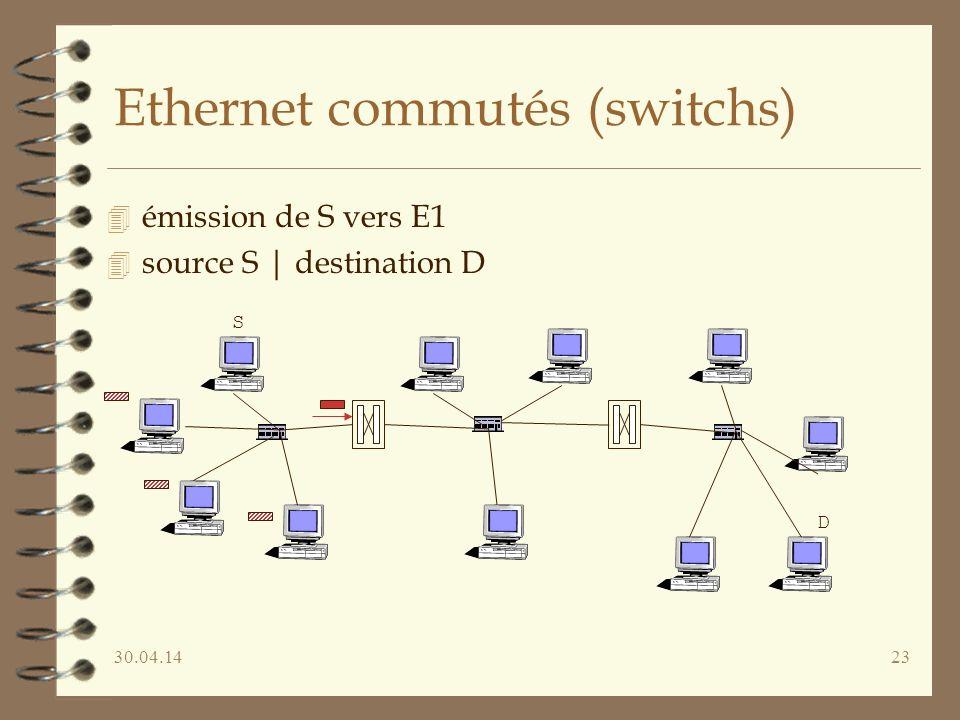 30.04.1423 Ethernet commutés (switchs) 4 émission de S vers E1 4 source S | destination D S D