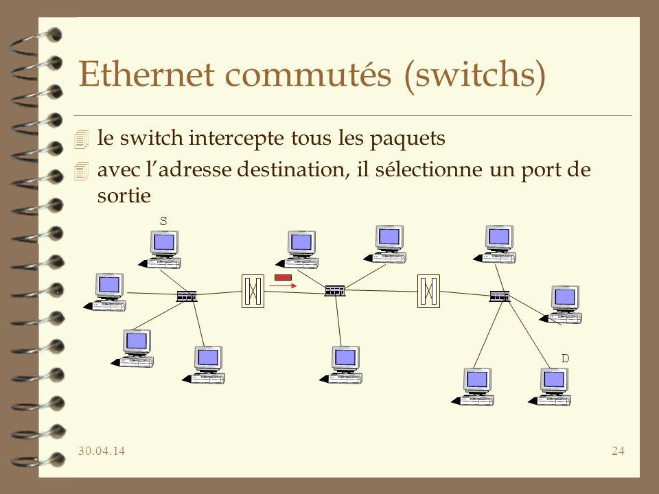 30.04.1424 Ethernet commutés (switchs) 4 le switch intercepte tous les paquets 4 avec ladresse destination, il sélectionne un port de sortie S D