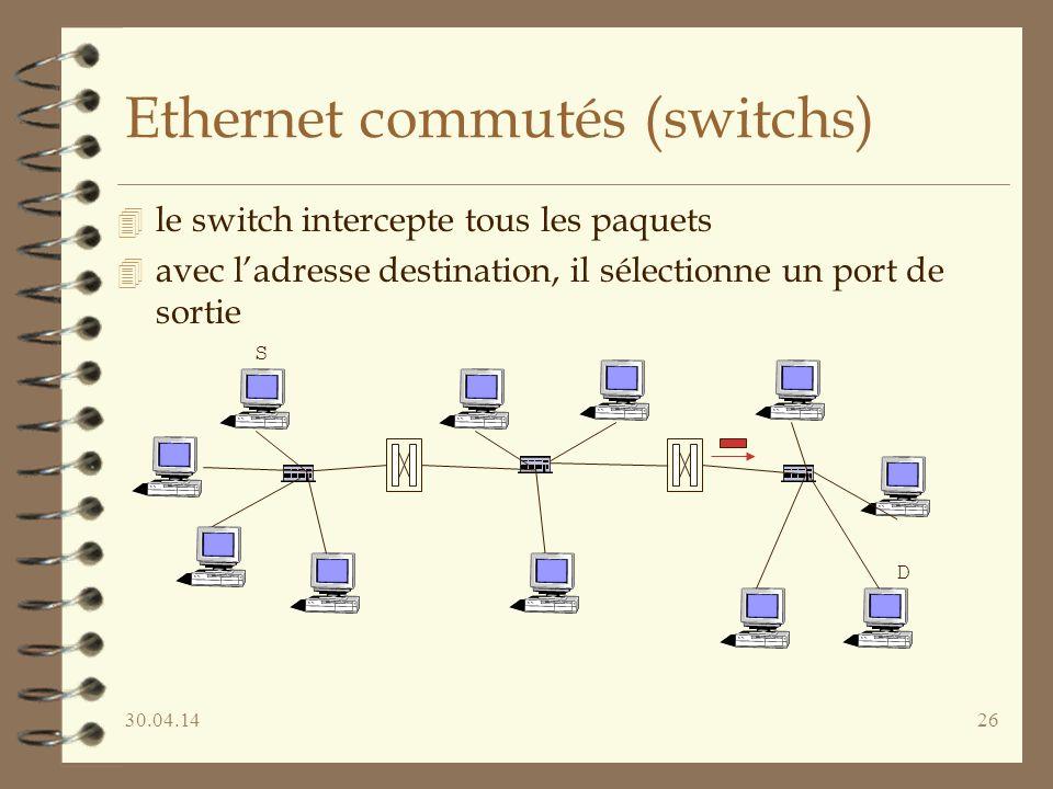 30.04.1426 Ethernet commutés (switchs) 4 le switch intercepte tous les paquets 4 avec ladresse destination, il sélectionne un port de sortie S D