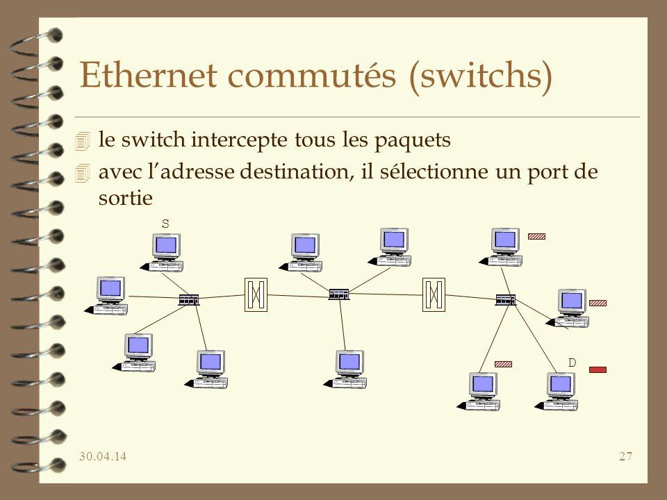 30.04.1427 Ethernet commutés (switchs) 4 le switch intercepte tous les paquets 4 avec ladresse destination, il sélectionne un port de sortie S D