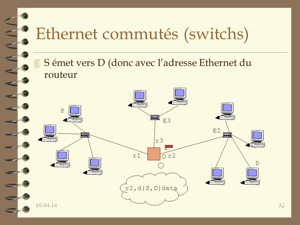 30.04.1432 Ethernet commutés (switchs) 4 S émet vers D (donc avec ladresse Ethernet du routeur D r1 r3 r2 S r2,d|S,D|data E3 E2