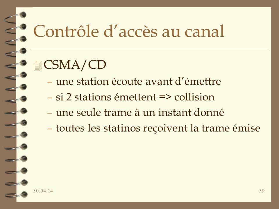 30.04.1439 Contrôle daccès au canal 4 CSMA/CD –une station écoute avant démettre –si 2 stations émettent => collision –une seule trame à un instant donné –toutes les statinos reçoivent la trame émise