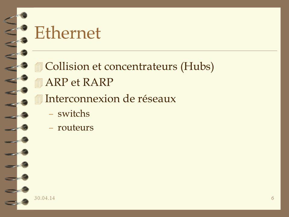 30.04.1417 Ethernet : ARP 4 la liste des correspondances est dynamique 4 lors dune émission on cherche dans la table –si oui, OK –si non, on émet en broadcast « qui est xxx.