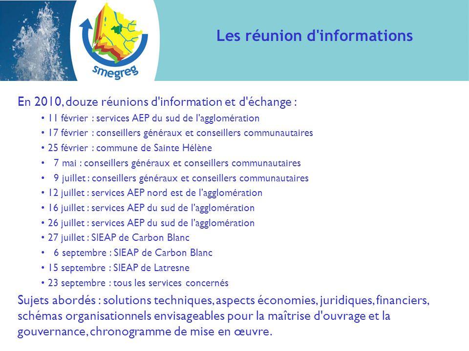 En 2010, douze réunions d'information et d'échange : 11 février : services AEP du sud de l'agglomération 17 février : conseillers généraux et conseill
