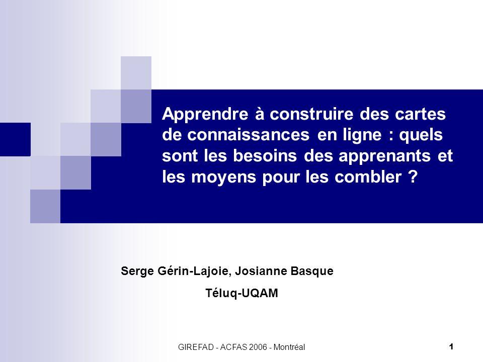 GIREFAD - ACFAS 2006 - Montréal22 Résultats Les difficultés des étudiants à construire des cartes de connaissances à distance.