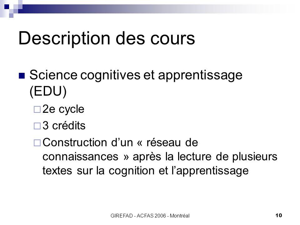 GIREFAD - ACFAS 2006 - Montréal10 Description des cours Science cognitives et apprentissage (EDU) 2e cycle 3 crédits Construction dun « réseau de connaissances » après la lecture de plusieurs textes sur la cognition et lapprentissage