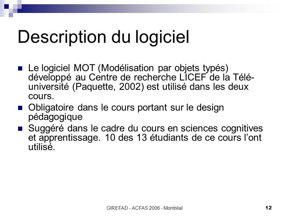 GIREFAD - ACFAS 2006 - Montréal12 Description du logiciel Le logiciel MOT (Modélisation par objets typés) développé au Centre de recherche LICEF de la Télé- université (Paquette, 2002) est utilisé dans les deux cours.
