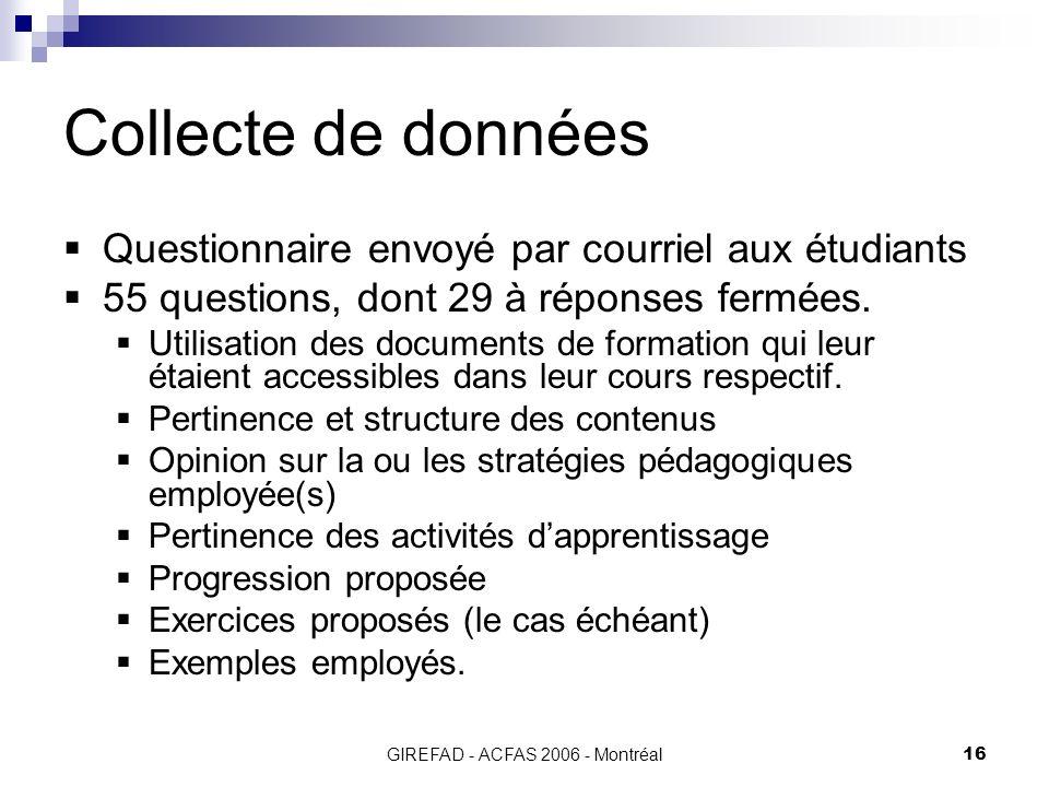 GIREFAD - ACFAS 2006 - Montréal16 Collecte de données Questionnaire envoyé par courriel aux étudiants 55 questions, dont 29 à réponses fermées.