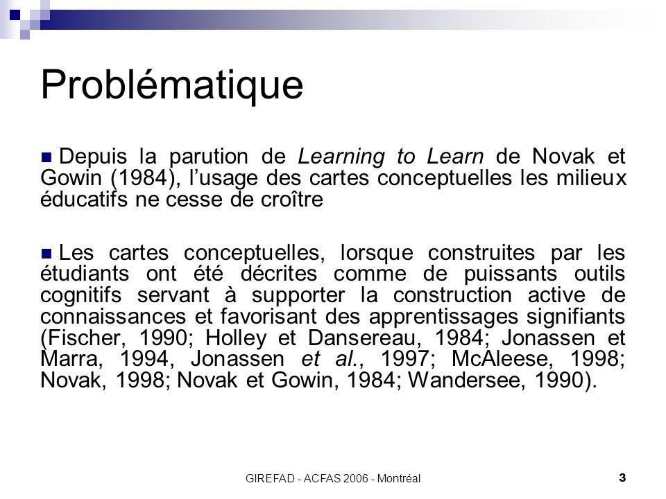 GIREFAD - ACFAS 2006 - Montréal3 Problématique Depuis la parution de Learning to Learn de Novak et Gowin (1984), lusage des cartes conceptuelles les milieux éducatifs ne cesse de croître Les cartes conceptuelles, lorsque construites par les étudiants ont été décrites comme de puissants outils cognitifs servant à supporter la construction active de connaissances et favorisant des apprentissages signifiants (Fischer, 1990; Holley et Dansereau, 1984; Jonassen et Marra, 1994, Jonassen et al., 1997; McAleese, 1998; Novak, 1998; Novak et Gowin, 1984; Wandersee, 1990).