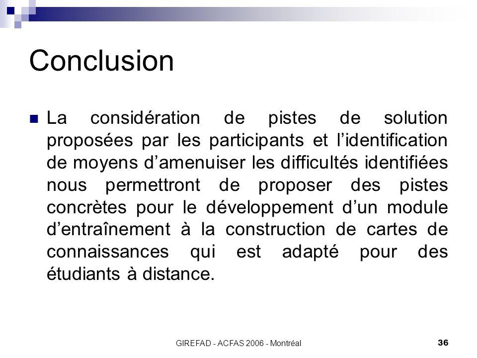 GIREFAD - ACFAS 2006 - Montréal36 Conclusion La considération de pistes de solution proposées par les participants et lidentification de moyens damenuiser les difficultés identifiées nous permettront de proposer des pistes concrètes pour le développement dun module dentraînement à la construction de cartes de connaissances qui est adapté pour des étudiants à distance.