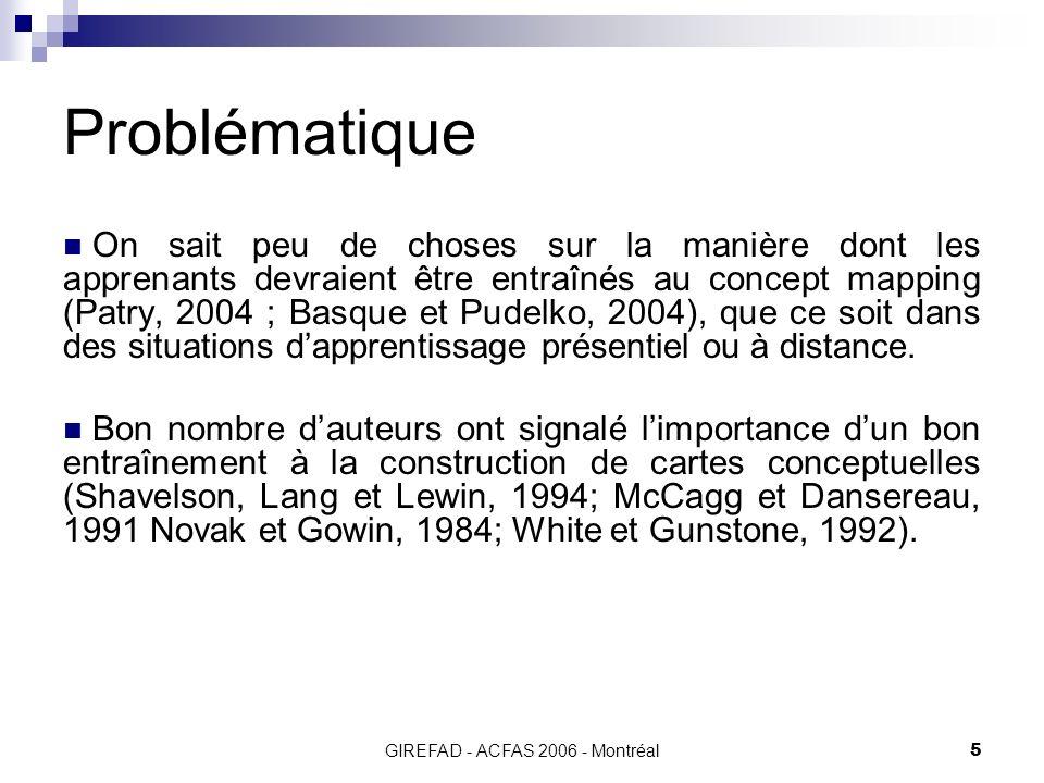 GIREFAD - ACFAS 2006 - Montréal5 Problématique On sait peu de choses sur la manière dont les apprenants devraient être entraînés au concept mapping (Patry, 2004 ; Basque et Pudelko, 2004), que ce soit dans des situations dapprentissage présentiel ou à distance.