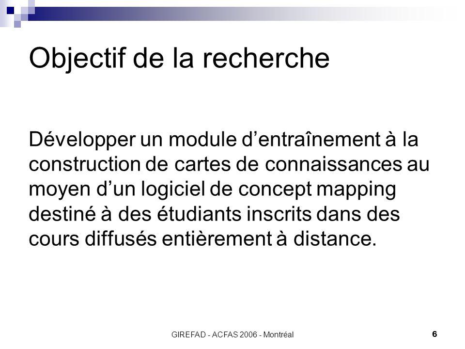 GIREFAD - ACFAS 2006 - Montréal6 Objectif de la recherche Développer un module dentraînement à la construction de cartes de connaissances au moyen dun logiciel de concept mapping destiné à des étudiants inscrits dans des cours diffusés entièrement à distance.