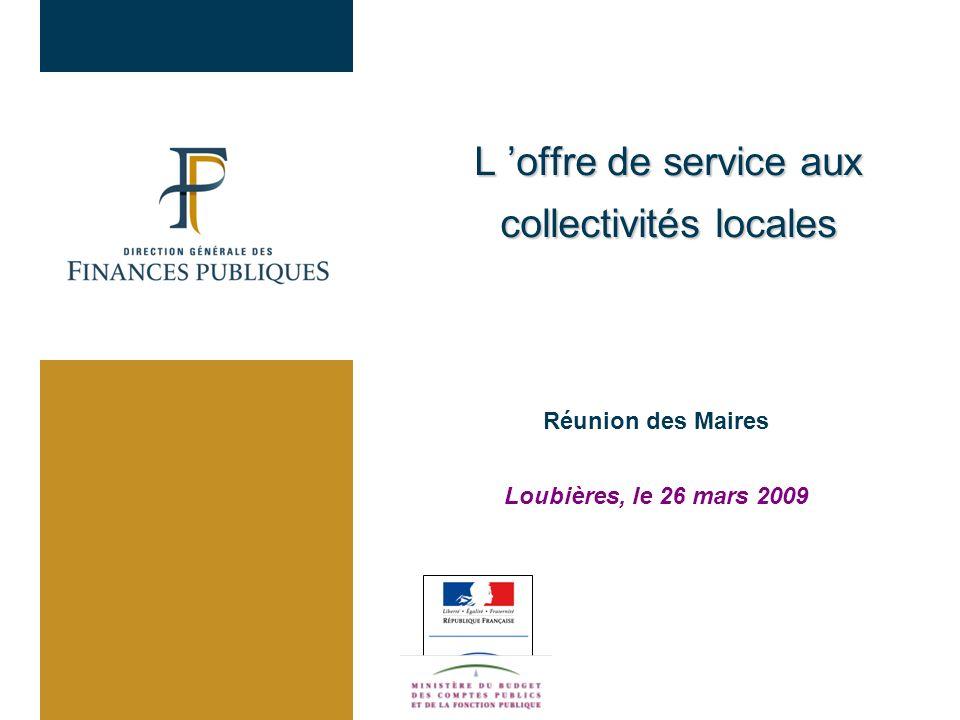 Réunion des Maires Loubières, le 26 mars 2009 L offre de service aux collectivités locales