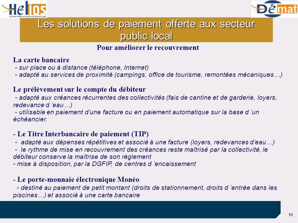 10 Les solutions de paiement offerte aux secteur public local La carte bancaire - sur place ou à distance (téléphone, Internet) - adapté au services d