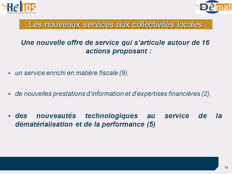 14 Les nouveaux services aux collectivités locales Une nouvelle offre de service qui sarticule autour de 16 actions proposant : un service enrichi en