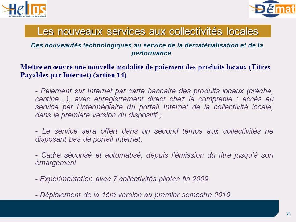 23 Mettre en œuvre une nouvelle modalité de paiement des produits locaux (Titres Payables par Internet) (action 14) - Paiement sur Internet par carte