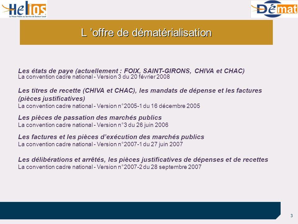 3 L offre de dématérialisation Les états de paye (actuellement : FOIX, SAINT-GIRONS, CHIVA et CHAC) La convention cadre national - Version 3 du 20 fév