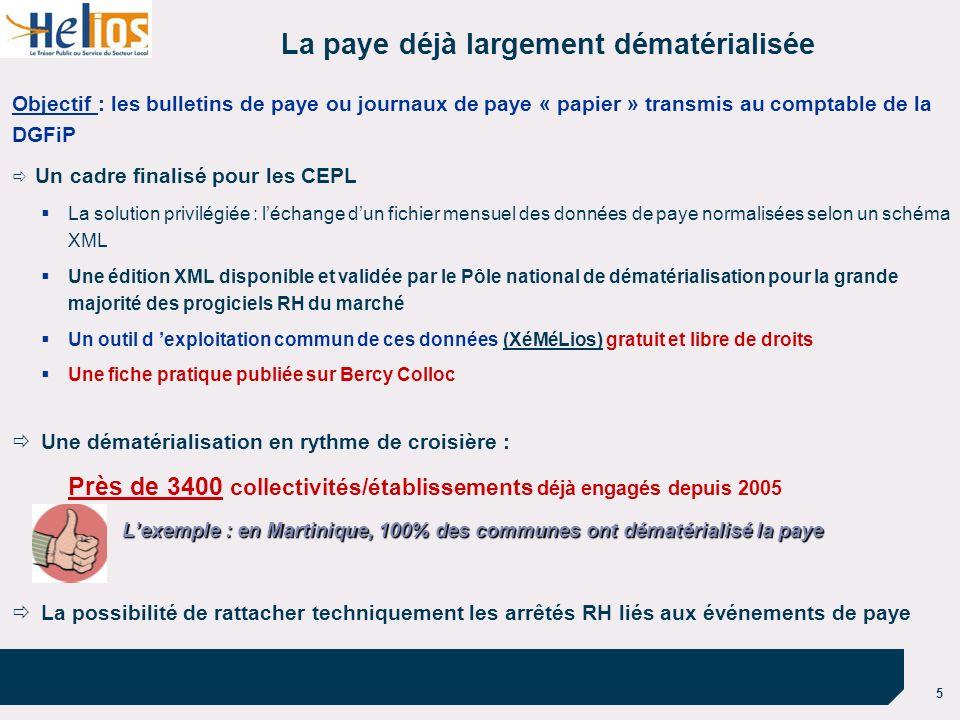 5 La paye déjà largement dématérialisée Objectif : les bulletins de paye ou journaux de paye « papier » transmis au comptable de la DGFiP Un cadre fin